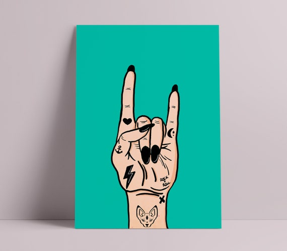 Mini Print | Rock & Roll Tattooed Hand |  Illustration Print [Unframed]