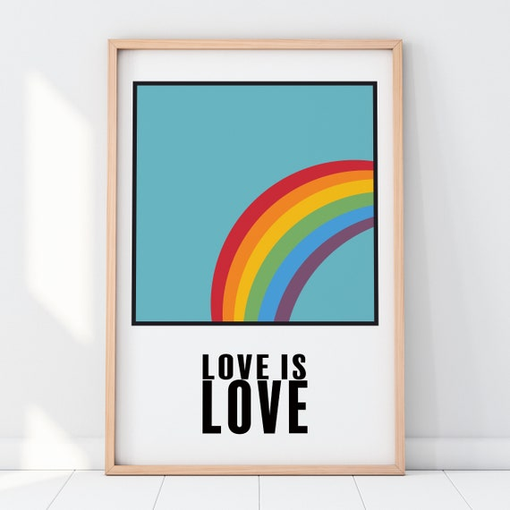 Love Is Love Rainbow Pantone Print [Unframed] LGBTQ+, Lesbian Art, Gay Art, Pride, Rainbow Wall Decor, Equality For All