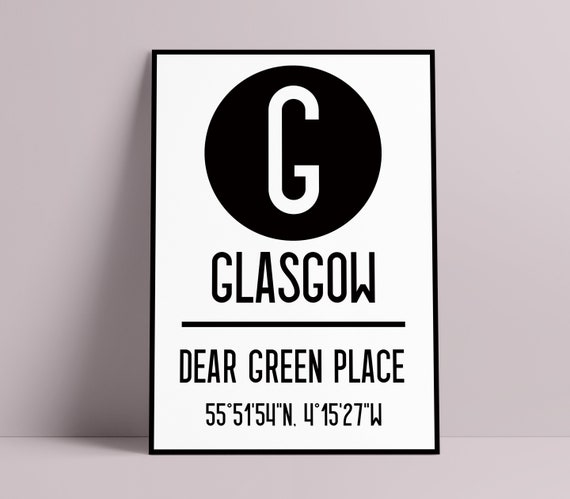 Scottish City Name & Coordinates Art Print | A1, A2, A3, A4 Poster