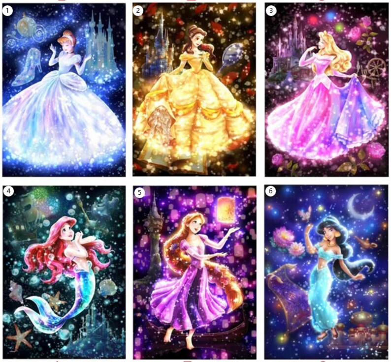5D DIY full square  round diamond painting princess picture full diamond embroidery painting cross stitch kit home decoration gift