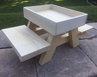 Chicken/Squirrel/Bird Picnic Table Feeder - Knotty Pine, Handcrafted, Large Table  14x8x6 1/2.  Mounting Screws Included.