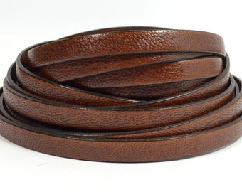 L10F-2 10mm Flat Leather Natural Choose Your Length