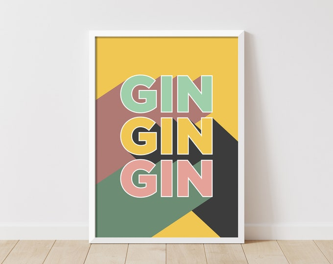Featured listing image: Gin Gin Gin Art Print