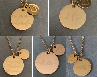Name chain with engraving and 2 plates 18 mm & 10 mm / name and heart / personalized chain / engraving chain / stainless steel 14 carat gold plated /