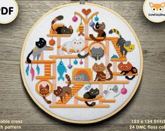 Cats Modern Cross stitch pattern, Cat Stand cross stitch, Cute Cats pattern, Animals cross stitch Instant download PDF, Printable pattern