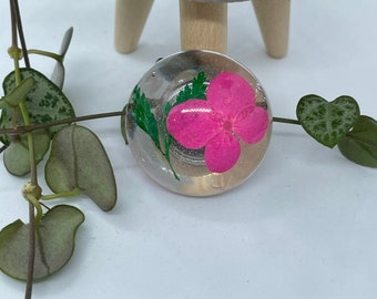 Blue Hydrangea Pink Larkspur Pressed Flower Glass Magnets-Set of 4-Teacher-CoWorkers Thank You Gifts-Yellow-Red Daisy