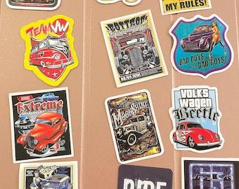 12 square retro car stickers