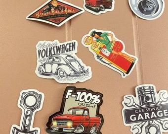9 wow retro car stickers