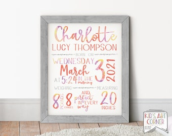 Watercolor Name and Birth Stats Printable | Custom Name Art | Personalized Baby Delivery Announcement | Colorful Nursery Instant Download
