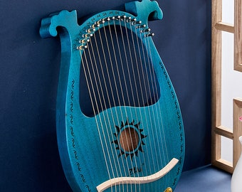 16 Strings Sun Style Solid Wood,Handmade Lyre Harp, With Tuning Key + Extra Strings,Stiller String Instruments,Musical Instrument Gifts