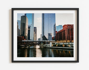 7. Chicago River   Skyline   L train photography   Downtown Art Print