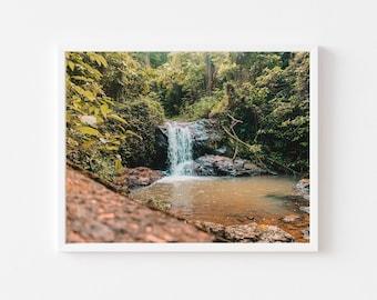 Hidden waterfall, Puerto Rico, Wall art, print, Caribbean, landscape, Decor, greenery
