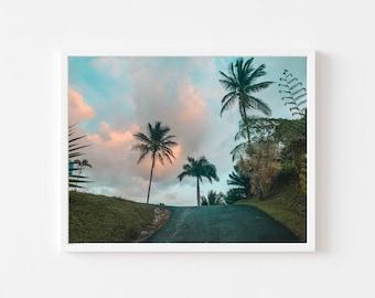 Humacao, hills, road, Puerto Rico, Wall art, print, Caribbean, landscape, Decor, Teal and orange