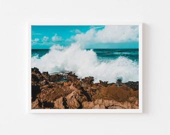 Crashing waves, Puerto Rico, Wall art, print, Caribbean, landscape, Decor,