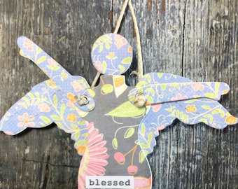 Blessed - Mixed Media Hanging Art Angel