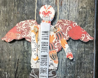 With Brave Wings She Flies    - Mixed Media Hanging Art Angel