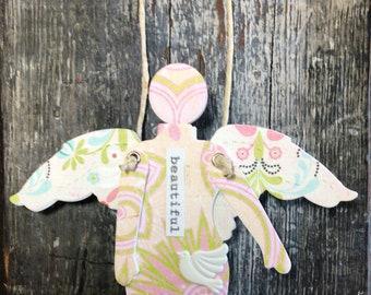 Beautiful  - Mixed Media Hanging Art Angel