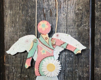 A Sisters Hand    - Mixed Media Hanging Art Angel