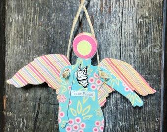 True Friend  - Mixed Media Hanging Art Angel
