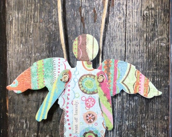 Went Off Bravely   - Mixed Media Hanging Art Angel