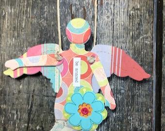 Be Amazed   - Mixed Media Hanging Art Angel