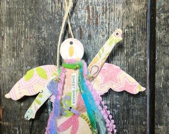 Sweet Grace  - Mixed Media Hanging Art Angel