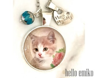 Cat Necklace On Silver Chain Kitten Lovers Gift Blue Gold Drop Bead I Love My Kitty Charm Cat Jewelry Cat Gift