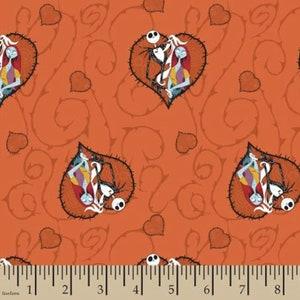 Disney Nightmare Before Christmas orange flannel Cotton Fabric FQ Half Yard One Yard