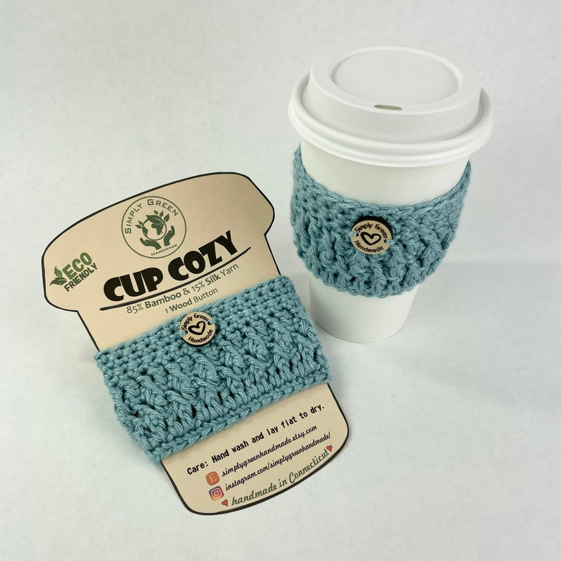 Bamboo and Silk Cup Cozy Crochet Reusable Cup Sleeve Eco Friendly Wood Button Starbucks sleeves