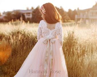 FREE SHIPPING Sleeveless Wedding Chic Blush Pink French Lace Dress Bow Ceremony Flower Girl Junior Easter Spring Summer Holiday