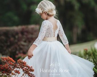Tulle flower girl dress Lace flower girl dress Ivory flower girl dress Boho flower girl dress Toddler dress First birthday dress Rustic