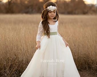 Flower girl dresses, Tulle Flower Girl, Boho flower girl dresses, Boho Flower girl dress, Gray Flower Girl