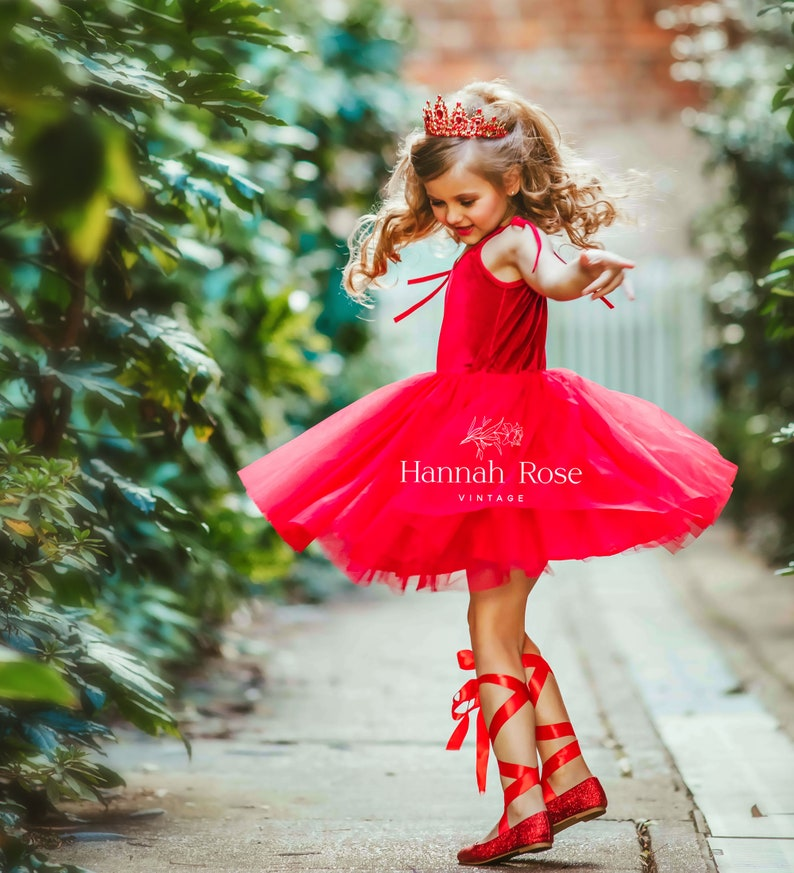 Special Occasion Photo Shoot Dress Girls Party Dress Valentine/'s Day dress Flower girl dress red Girls red Velvet and Tulle