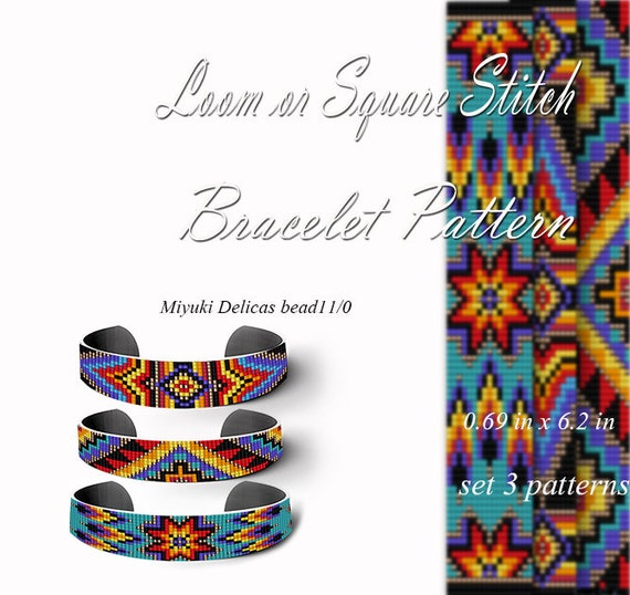Native American Style Pattern loom pattern bracelet  cuff DIY jewelry Beading mosaic  tutorial  Square stitch
