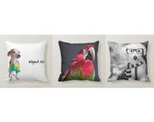 "Animal Square Accent Pillow 16""x16"" Animal Portraits"