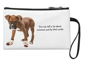 Funny Boxer Puppy with Socks Medium Coin Pouch with Strap