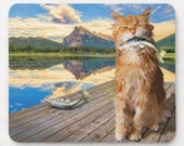 Funny Cat Gone Fishing Mousepad, Electronic Accessories, Computer Pad