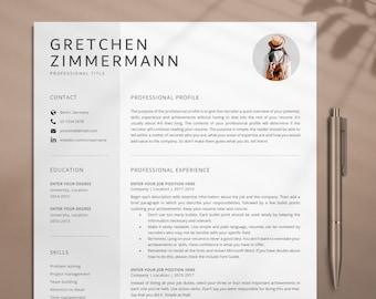 Creative Resume Template, Cv Template With Photo, Cv Resume Template, Professional Resume Template, Modern Resume Template Word, Lebenslauf