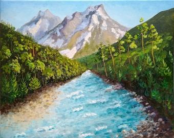 Mountain river art, Travel landscape original painting, Hiking canvas painting by Valentina Kramarenko