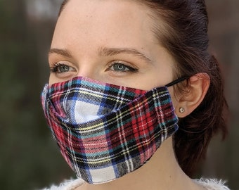 3 D ply 3 layer Protective Face Mask with filter pocket  adjustable nose wire Stewart Tartan Scottish Flannel Plaid washable