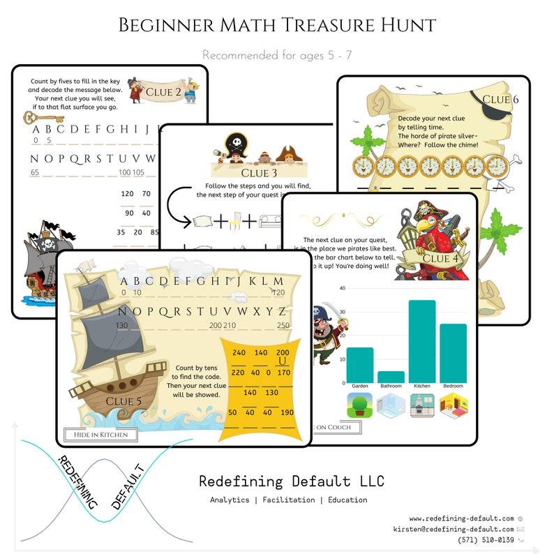 Beginner Math Pirate Treasure Hunt  Instant Download  image 0