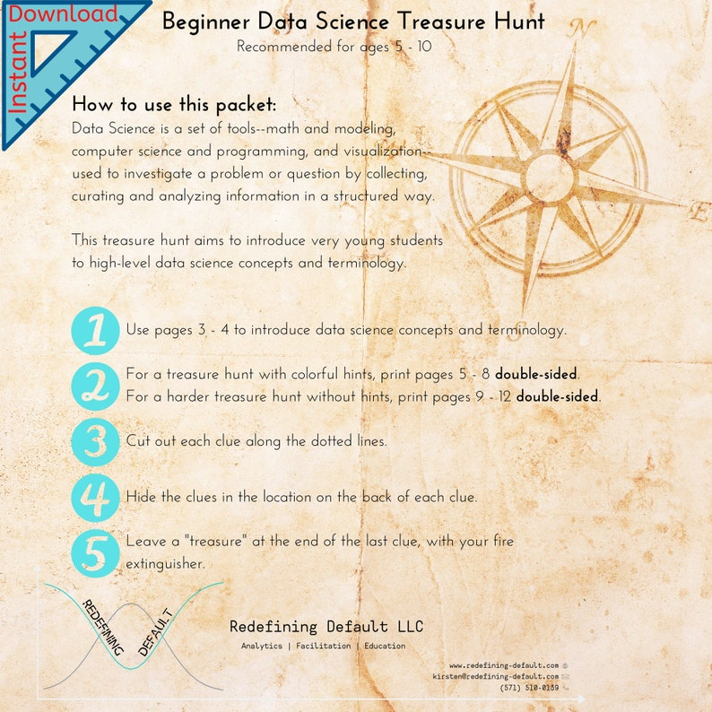 Beginner Data Science Treasure Hunt  Instant Download  image 0