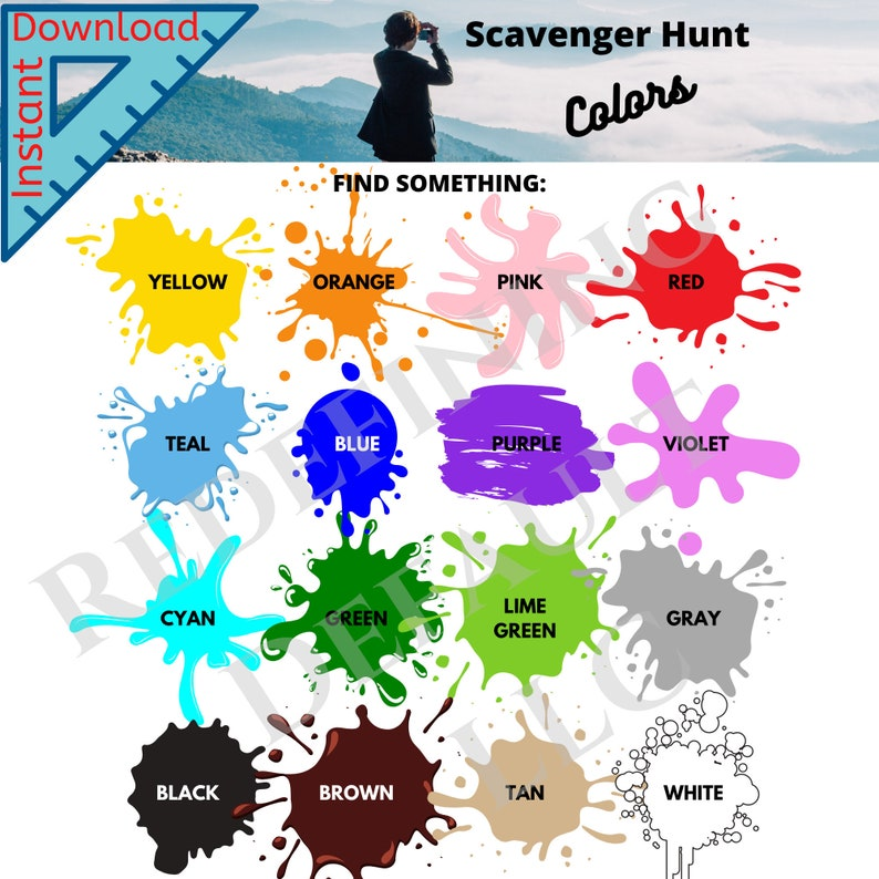 Colors Scavenger Hunt  Instant Download  Printable  image 0