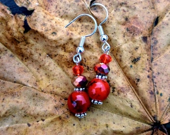 Autumn spice handmade beaded earrings. Cute little burnt orange marble glass beads & warm shades of faceted crystals, perfect for autumn.