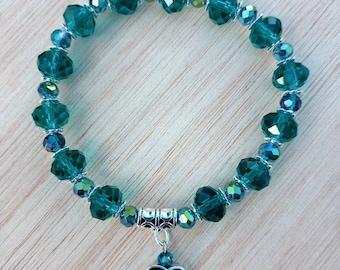 Blue Zircon handmade bracelet with tibetan silver heart.