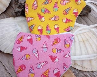 Handmade 3 layer cotton face mask in super cute icecream cone print cotton.