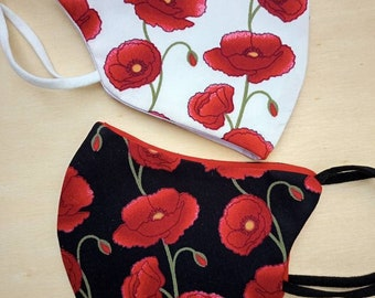 Handmade 3 layer contoured facemask in Poppy print cotton. Available in black or off white background. Profits go to 2021 poppy appeal.