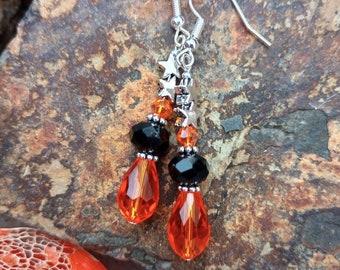Halloween stars handmade beaded crystal earrings.