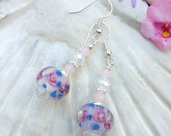 Pretty Rose handmade beaded earrings. With lampwork bead and pink opal crystals, perfect little gift.