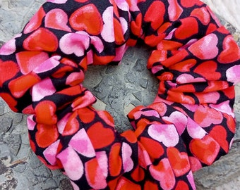 Handmade hair scrunchie in funky hearts design cotton. Cute hair accessory, matching facemask also available.